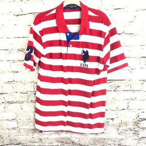 U.S. POLO MENS SIZE LARGE STRIPED RED WHITE POLO